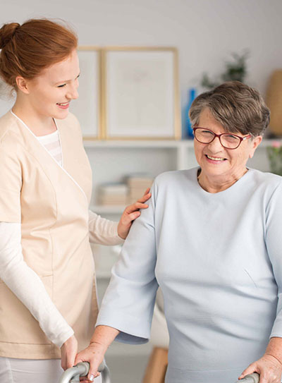 A care provider monitoring a patient